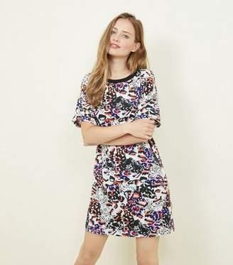 Noisy May White Mixed Animal Print Tunic Dress