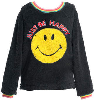 Hannah Banana Girl's Faux Sherpa Smiley Face Top, Size 4-6X