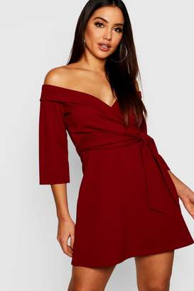 boohoo Tie Waist Slight Off Shoulder Shirt Dress
