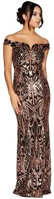 3161c7db5657 Quiz Black And Rose Gold Sequin Bardot Maxi Dress - Photo Dress ...