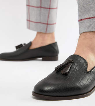 f2d70adbc7b Osprey House Of Hounds Wide Fit tassel loafers in black croc