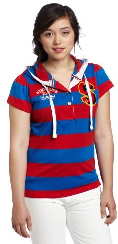 Southpole Juniors Plus-Size Rugby Stripe Hooded Top