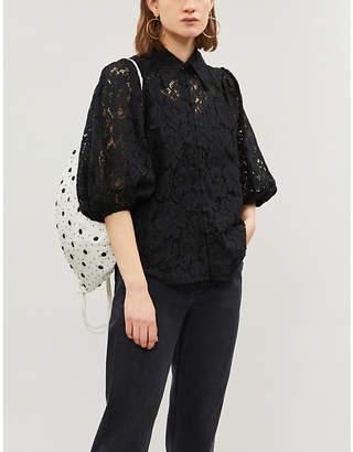 Ganni Everdale floral lace shirt