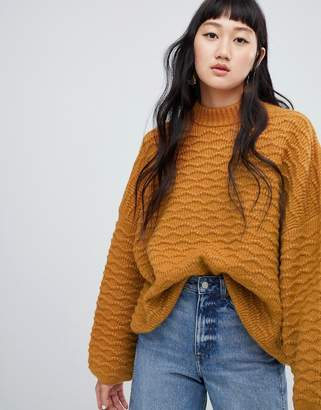Weekday textured sweater in camel