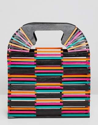 Asos Design DESIGN Coloured Bamboo Square Boxy Clutch Bag