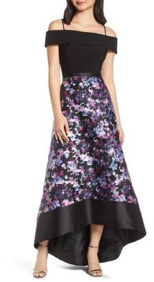 Morgan & Co. Cold Shoulder Mikado High/Low Hem Evening Dress