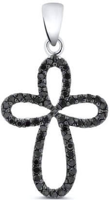 Black Diamond Cosanuova Cross Pendant In 14k White Gold