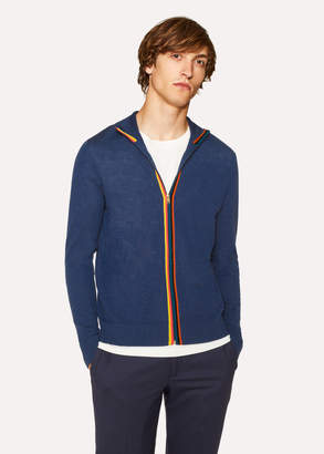 Paul Smith Men's Slate Blue Wool 'Artist Stripe' Zip-Through Cardigan