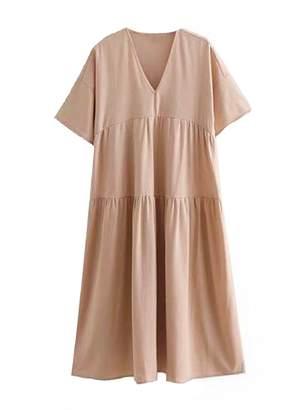 Goodnight Macaroon 'Veni' Flared Sleeve V-neck Midi Dress