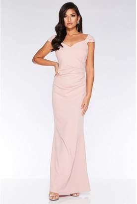 Quiz Nude Brooch Wrap Maxi Dress
