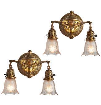 Rejuvenation Pair of Ornate Cast Brass Sconces w/ Pressed Glass Shades