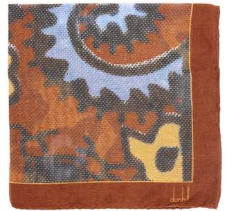 Dunhill Exploded Paisley Print Silk Blend Pocket Square - Mens - Brown