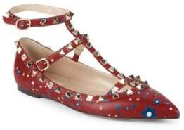 Valentino Rockstud Leather Ankle-Strap Ballet Flats