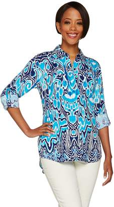 "C. Wonder Ikat Print Button Front ""Carrie"" Blouse with Back Pleat"