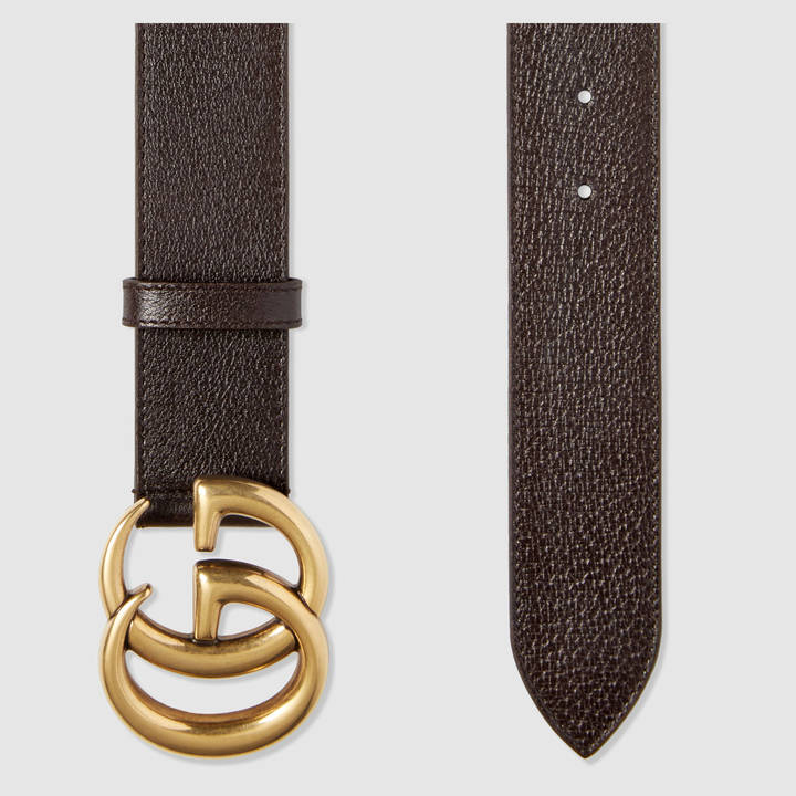 Leather belt with double G buckle 10