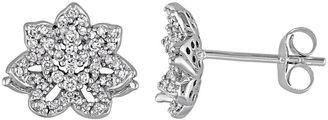 Laura Ashley 10k White Gold 1/3 Carat T.W. Diamond Flower Stud Earrings $2,375 thestylecure.com