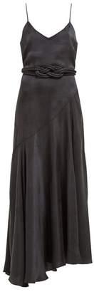 Mara Hoffman Nina Bias Cut Satin Dress - Womens - Black