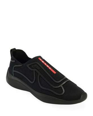 Prada Men's Sport Knit Low-Top Slip-On Sock Runner Shoes