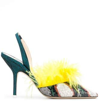 ATTICO Whips feathered pumps