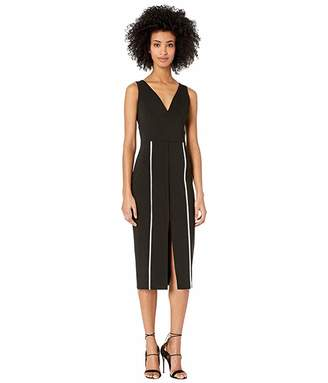 Yigal Azrouel V-Neck Bodycon Dress with Constrasting Top Stitch