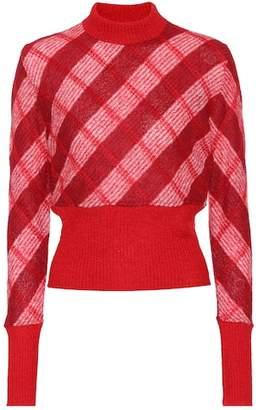 at mytheresa Miu Miu Checked mohair-blend sweater