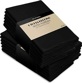 +Hotel by K-bros&Co Utopia Kitchen Cotton Dinner Napkins Black - 12 Pack (18 inches x18 inches) Soft and Comfortable - Durable Hotel Quality - Ideal for Events and Regular Home Use
