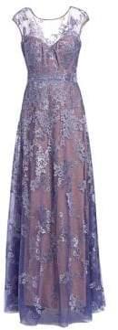 Rene Ruiz Cap-Sleeve Embellished Gown
