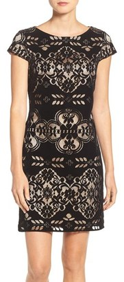 Petite Women's Eliza J Burnout Velvet Sheath Dress $138 thestylecure.com