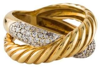 David Yurman 18K Diamond Crossover Ring