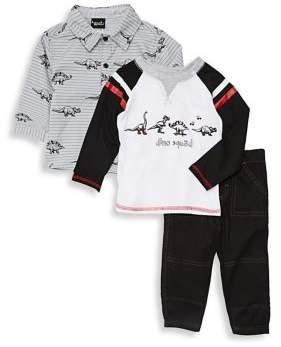 Nannette Baby Boy's Three-Piece Dino Shirt, Top & Pants Set