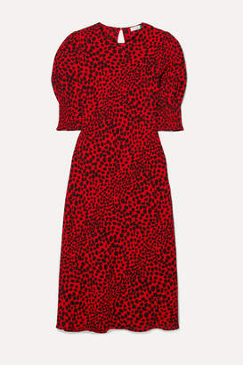 Rixo Jess Animal-print Crepe Midi Dress - Red