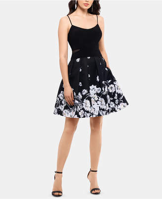 Xscape Evenings Printed-Skirt Fit & Flare Dress