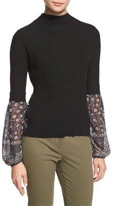 Veronica Beard Moon Ribbed Mixed-Media Sweater, Black $425 thestylecure.com