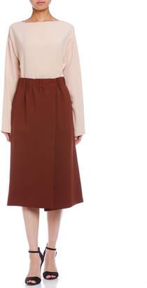 Jil Sander (ジル サンダー) - Jil Sander DEDALO シルク混 ギャザー デザインスカート ブラウン 36