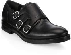 Alexander McQueen Triple Monk-Strap Leather Dress Shoes