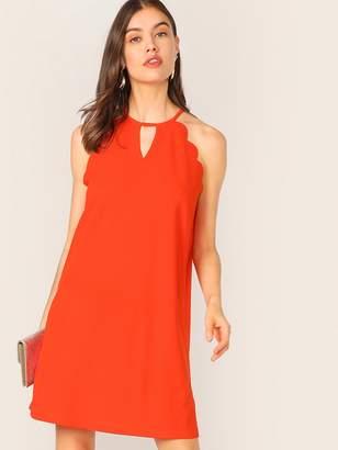 Shein Keyhole Neck Scallop Trim Tunic Halter Dress