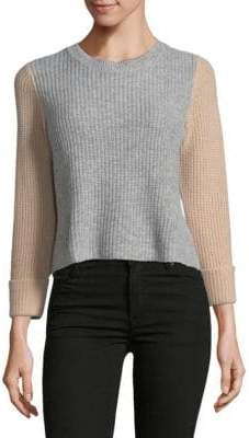 Autumn Cashmere Crop Colourblock Cashmere Sweater