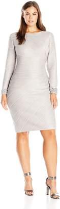 Eliza J Women's Plus Size Long Sleeve Sheath with Beaded Cuff Detail