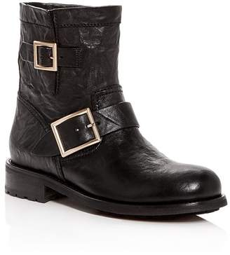 Jimmy Choo Women's Youth Leather Moto Boots
