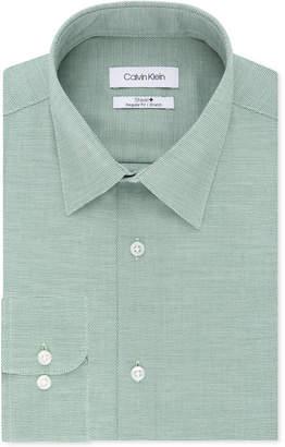 Calvin Klein Men's Steel Classic/Regular Fit Non-Iron Performance Stretch Pattern Dress Shirt