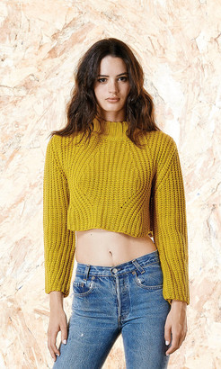 Again Collection - Alaska Mustard Crop Sweater in Mustard $110 thestylecure.com