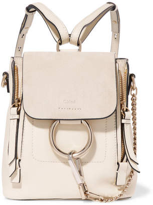 Chloé Faye Mini Textured-leather And Suede Backpack - Off-white