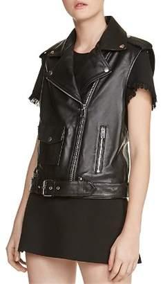 Maje Baldwin Leather Moto Vest
