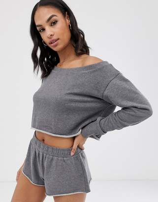 South Beach off the shoulder grey sweat top