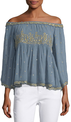 Love Sam SS Beaded Top W Yoke Detail $259 thestylecure.com