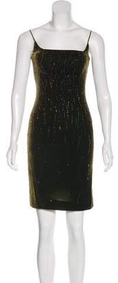 Carmen Marc Valvo Velvet Beaded Dress