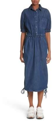 Stella McCartney Ruched Denim Midi Dress