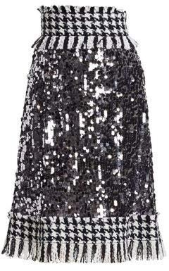Dolce & Gabbana Paillette Tweed-Trim A-Line Skirt