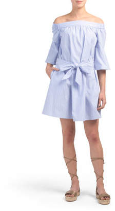 Off The Shoulder Poplin Dress
