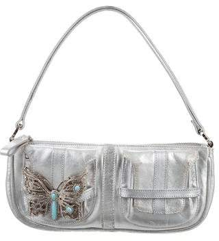 Valentino Butterfly-Embellished Metallic Bag